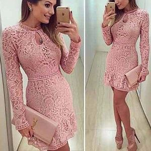 Dresses & Skirts - Long Sleeve Pink Lace Sexy Dress Party Night Club
